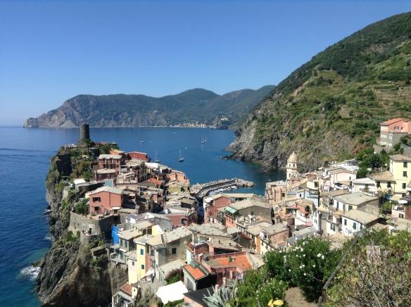 view of corniglia, cinque terre, on my hike