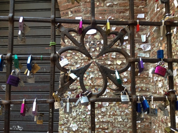 Love Locks on the gates of Juliet's balcony, Verona, Italy