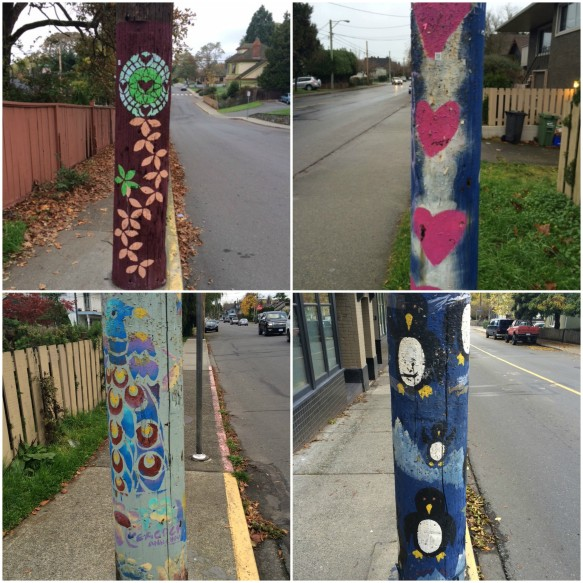 Some painted tree posts from my Island 'hood