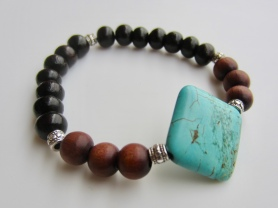 turquoise brown black beads
