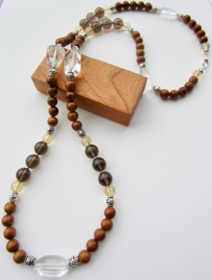 smoky quartz & wood chunky necklace
