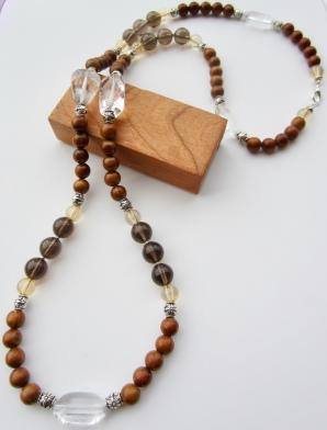 smoky quartz & wood chunky necklace