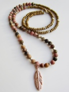 rhodonite and rose gold feather