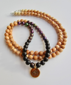 gold lotus, white/black wood, purple druk beads