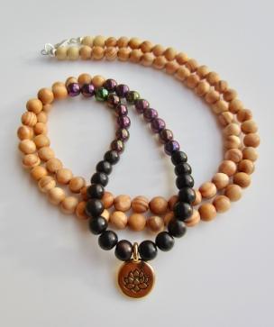 gold lotus, white/black wood, purple druk beads